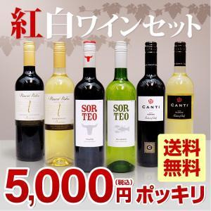 5000円ポッキリ 紅白ワイン6本セット 750ml×6本 送料無料<br>ワイン 赤ワイン 白ワイン セットワイン 紅白セットワイン ハロウィン stary