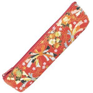 あかしや 友禅和紙ペンケース 四季の花(赤)(ゆうぜんわしぺんけーす しきのはな(あか)) AW03-RD|stationery-arnz