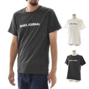 バンクス BANKS Tシャツ ロゴプリント ジャーナル BANKS JOURNAL メンズ 半袖Tシャツ 白 黒 オフホワイト LABEL TEE ATS0252 サーフィン サーファー アメカジ|stay
