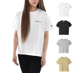 チャンピオン Champion Tシャツ レディース ウィメンズ ショートスリーブTシャツ Cロゴ 刺繍 シンプル 半袖Tシャツ カジュアル ブラック ホワイト グレー カーキ|stay