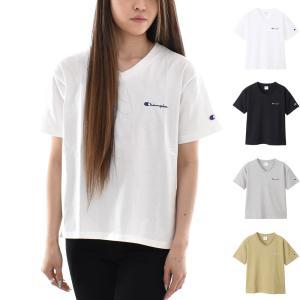 チャンピオン Champion Tシャツ レディース ウィメンズ VネックTシャツ ベーシック Cロゴ 刺繍 半袖Tシャツ カジュアル ブラック ホワイト グレー カーキ|stay