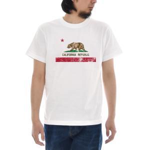 カリフォルニア フラッグ Tシャツ ジャスト 半袖Tシャツ メンズ レディース ティーシャツ 旗 熊 大きいサイズ ホワイト 白 S M L XL XXL XXXL ブランド|stay
