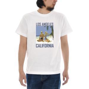 ヴィンテージポスター Tシャツ ジャスト Los Angeles 半袖Tシャツ メンズ レディース おしゃれ 大きいサイズ ロサンゼルス 白 S M L XL XXL XXXL 3L 4L ブランド stay
