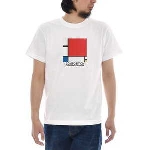 ピエト モンドリアン Tシャツ ジャスト コンポジション 半袖Tシャツ メンズ レディース 大きいサイズ 絵画 アート 白 S M L XL XXL XXXL 3L 4L ブランド|stay