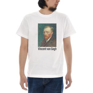 ゴッホ Tシャツ 自画像 1887年春 ジャスト 半袖Tシャツ メンズ レディース 大きいサイズ テイーシャツ 絵画 世界の名画 ホワイト 白 S M L XL XXL XXXL ブランド|stay