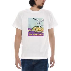ヴィンテージ ポスター Tシャツ カリフォルニア サンフランシスコ 半袖Tシャツ メンズ レディース 大きいサイズ ブランド レトロ ビンテージ 白 S M L XL 3L 4L|stay