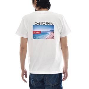 フォトTシャツ Tシャツ マリブ ジャスト 半袖Tシャツ バックプリント 波 海 ビーチ 写真 景色 メンズ レディース 大きいサイズ サーフ S M L XL 3L 4L ブランド|stay