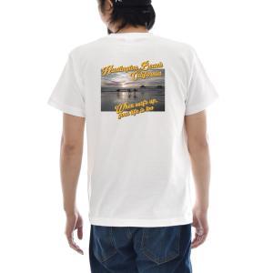 フォトTシャツ Tシャツ ハンティントン ビーチ ジャスト 半袖Tシャツ バックプリント 海 波 写真 景色 メンズ レディース 大きいサイズ S M L XL 3L 4L ブランド|stay