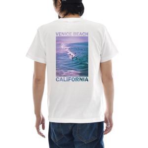 フォトTシャツ Tシャツ ヴェニス ビーチ ベニス ジャスト 半袖Tシャツ バックプリント 海 波 写真 メンズ レディース 大きいサイズ S M L XL 3L 4L ブランド|stay
