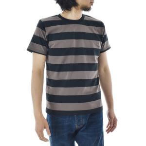 ボーダー Tシャツ ジャスト エンブロイダリー ワイドボーダー 半袖Tシャツ メンズ レディース カットソー トップス 太ボーダー 刺繍 おしゃれ S M L ブランド stay 11