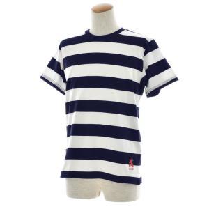 ボーダー Tシャツ ジャスト エンブロイダリー ワイドボーダー 半袖Tシャツ メンズ レディース カットソー トップス 太ボーダー 刺繍 おしゃれ S M L ブランド stay 16
