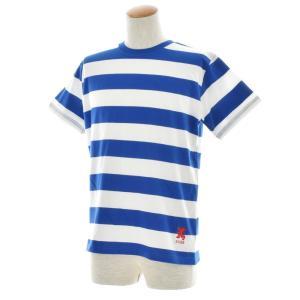 ボーダー Tシャツ ジャスト エンブロイダリー ワイドボーダー 半袖Tシャツ メンズ レディース カットソー トップス 太ボーダー 刺繍 おしゃれ S M L ブランド stay 17