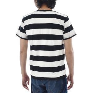 ボーダー Tシャツ ジャスト エンブロイダリー ワイドボーダー 半袖Tシャツ メンズ レディース カットソー トップス 太ボーダー 刺繍 おしゃれ S M L ブランド stay 04