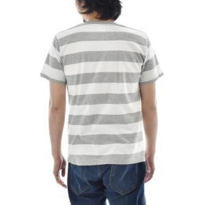 ボーダー Tシャツ ジャスト エンブロイダリー ワイドボーダー 半袖Tシャツ メンズ レディース カットソー トップス 太ボーダー 刺繍 おしゃれ S M L ブランド stay 10