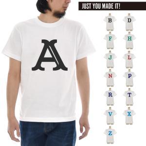 アルファベット イニシャル Tシャツ カスタム オーダー オリジナル 半袖Tシャツ メンズ レディース 大きいサイズ 白 S M L XL 3L 4L ブランド Just T-shirt|stay