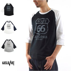 ROUTE 66 3/4 SLEEVE T-Shirt Life is ART STANDARD PROJECT スタンダード プロジェクト Tシャツ 7分袖 ルート66 国道66号線 アメカジ[M便 1/1] メンズ|stay