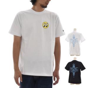 ニューエラ new era Tシャツ メンズ レディース コラボ MOONEYES ムーンアイズ 半袖 ブランド ピンストライプ MOON PINSTRIPE FLAG M L 11557880 11557881|stay