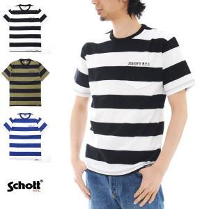 ショット Schott Tシャツ ワイドボーダー ポケット 半袖Tシャツ 3153013[M便 1/1]|stay