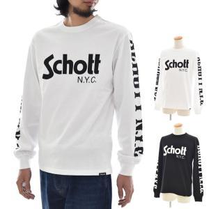 ショット Schott Tシャツ ロンT メンズ 無地 長袖Tシャツ ベーシック ロゴ ロングスリーブ ロンT メンズ ロンティー 3183020|stay