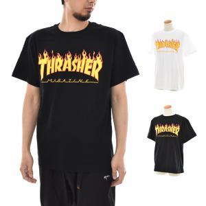 THRASHER スラッシャー Tシャツ フレイムロゴ フレイム MAGロゴ 半袖Tシャツ TEE ティ−シャツ メンズ SK8 スケートボード 黒 白 TH91130|stay