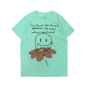 Tシャツ ライフ イズ アート Smile Melange Green レディース|stayblue