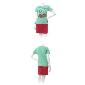 Tシャツ ライフ イズ アート Smile Melange Green レディース|stayblue|02