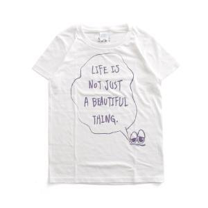 (復興デパートメント) Tシャツ ライフ イズ アート × Chos Tシャツ NOT JUST A BEAUTIFUL White レディース|stayblue