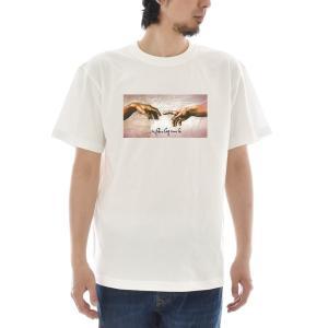 【アートTシャツ】ミケランジェロ・ブオナローティ Tシャツ アダムの創造フォーカス ライフ イズ アート 半袖 メンズ レディース 大きいサイズ 絵画 ホワイト 白 stayblue
