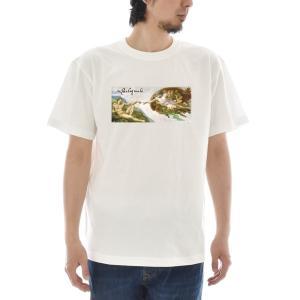 【アートTシャツ】ミケランジェロ・ブオナローティ Tシャツ アダムの創造 ライフ イズ アート 半袖 メンズ レディース 大きいサイズ 絵画 名画 ホワイト 白 stayblue