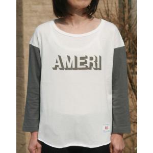 【Americana】(アメリカーナ)AMERI-T(ホワイトxチャコール)送料全国一律300円|steamboat