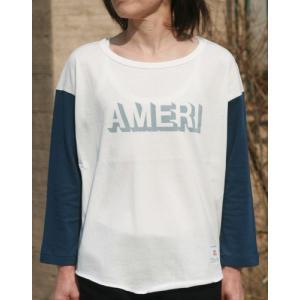 【Americana】(アメリカーナ)AMERI-T(ホワイトxネイビー)送料全国一律300円|steamboat