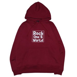 ROCK ONE'S WORLD ロックワンズワールド SQUARE LOGO HOODIE|steelo