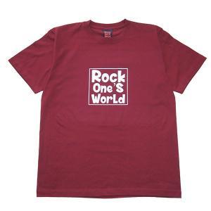 ROCK ONE'S WORLD ロックワンズワールド SQUARE LOGO TEE-BURGUNDY- steelo