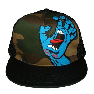 SANTA CRUZ サンタクルーズ SCREAMING HAND MESH CAP-CAMO/BLACK-|steelo