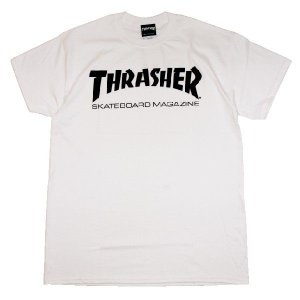 THRASHER スラッシャー MAG LOGO TEE -WHT/BLK-|steelo