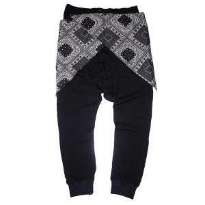ZEPHYREN ゼファレン WAIST CLOTH SAROUEL PANTS BLACK|steelo