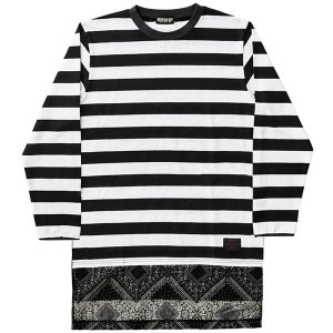ZEPHYREN ゼファレン  SWITCHING BORDER L/S TEE|steelo