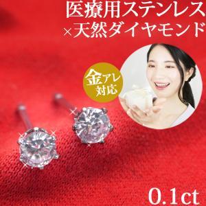金属アレルギー対応 ステンレスピアス 天然ダイヤモンド 0.1ctダイヤモンドピアス スタッドピアス 誕生日 記念日 ギフト プレゼント 彼女 女性 妻  両耳用|stency-nana