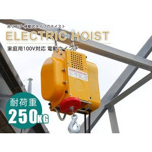 送料無料/家庭用100V/60Hz電動ウインチ ホイスト 最大能力250kg|stepforward