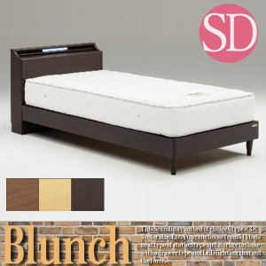 ベッド セミダブルベッド LED照明 ベッドフレームのみ 宮付き コンセント付き|stepone09