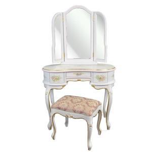 ドレッサー 姫系 かわいい 白 幅92cm アンティーク調 三面鏡 クラシック スツール付き 化粧台 【代引不可】【開梱設置無料】|stepone11