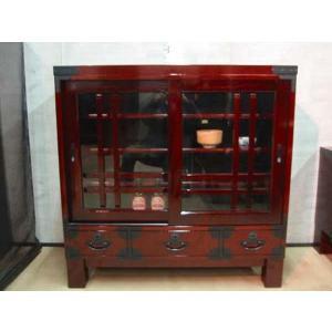 民芸 サイドボード/キャビネット/和モダン/セール/国産 100飾り棚(DBR)|stepone11