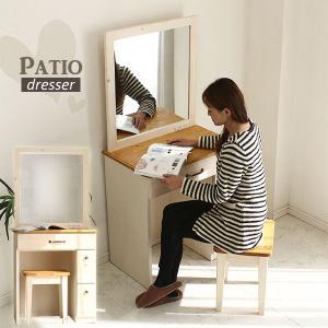 ドレッサーデスク 鏡台 一面鏡 椅子付きドレッサー 化粧台 フレンチ カントリー調 机 木製 ナチュラル|stepone11