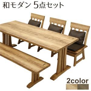 ダイニングテーブルセット 食卓用 5点セット テーブル幅190cm ベンチ 回転式チェア ダイニングセット 北欧 おしゃれ ファブリック|stepone2008