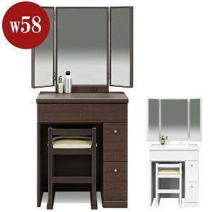 ドレッサー 椅子付き 白 茶 モダン 鏡台の写真