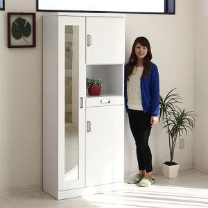 下駄箱 シューズボックス 幅75cm 完成品 ホワイト鏡面 白 北欧 靴箱 玄関収納 姿見付 ハイタイプ ミラー 日本製|stepone2008