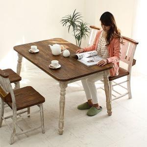 ダイニングテーブルセット フレンチカントリー ダイニング 5点 4人用 北欧 ニトリ IKEA 無印好きに人気|stepone2008
