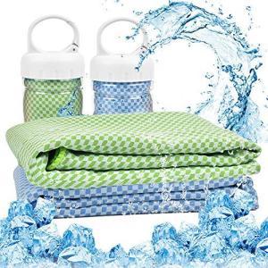 冷感タオル 冷却タオル ひんやりタオル 2枚セット クールタオル 夏用 汗や水分吸収 速乾 冷えタオ...