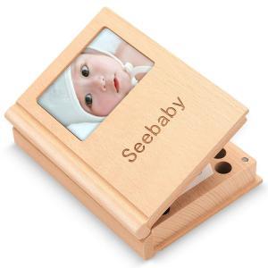 乳歯ケース Seebaby 乳歯入れ 赤ちゃん用 記念 木製 写真入れ 名前と抜けた日シール付き 乾燥用綿付き うぶ毛を入れるミニボトル付き|steppers