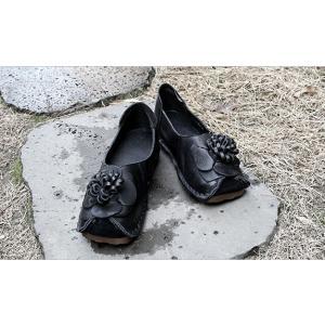 フラットシューズ レディース ペタンコ 本革 レザー 春 2018 モード系 個性的 40代 ファッション エモ系 ALICEGOHOME|stile-moda|02